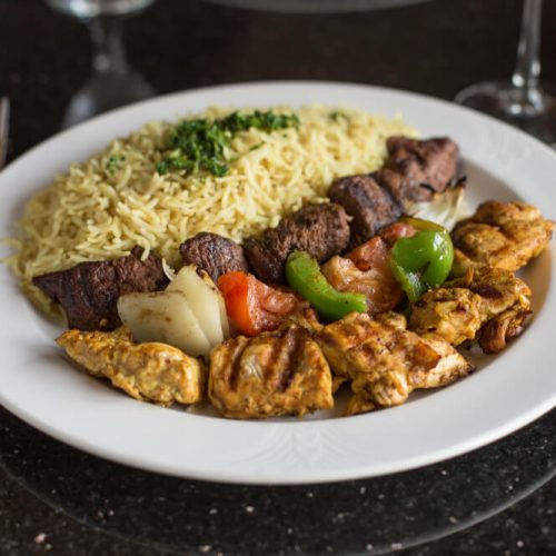 "Alt=""Casablanca combo of two with Beef and Chicken kabob"""
